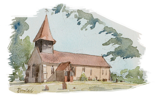 Broxted Church illustration by Jan Faithfull