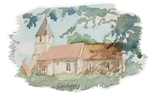 Chickney Church illustration by Jan Faithfull