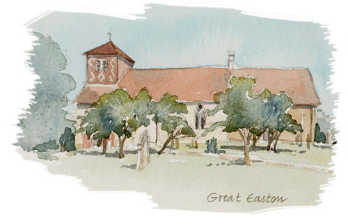 Great Easton Church illustration by Jan Faithfull