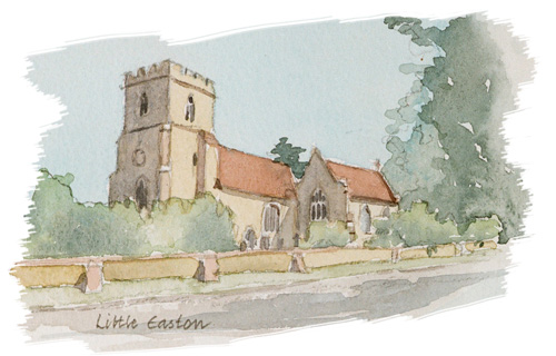 Little Easton Church illustration by Jan Faithfull