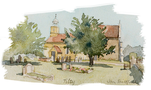 Tilty Church illustration by Jan Faithfull